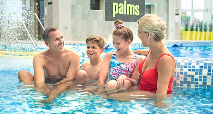 Family in pool at Potters Resort