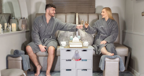 Couple enjoying spa together