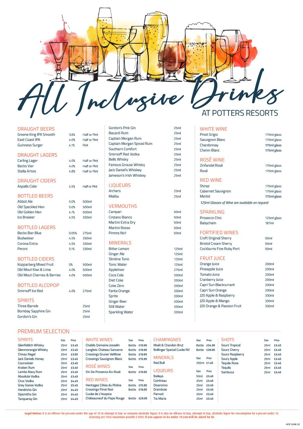 All Inclusive Drinks Menu - Potters Resort