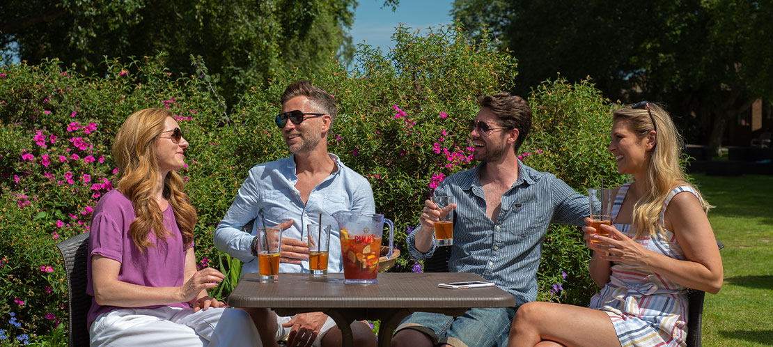 Couples relaxing with a drink